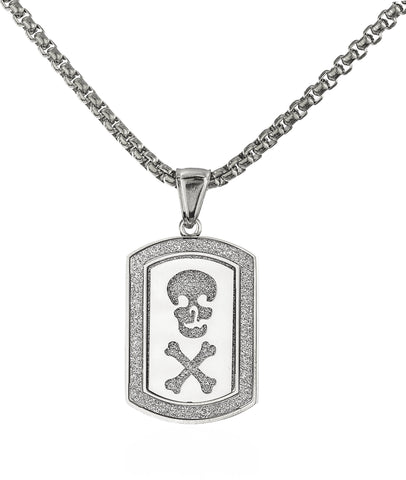 Stainless Steel Skull And Bones Sandblast Dog Tag With A 24 Inch Round Box Chain (Silvertone)