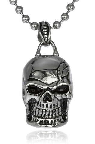 Stainless Steel Skull Biker Pendant With 24 Inch Ball Chain Necklace