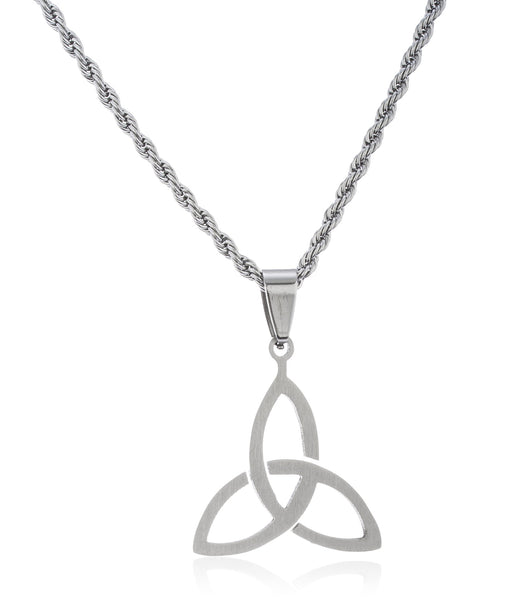 Stainless Steel Triquetra Trinity Knot Pendant 24 Inch Rope Necklace