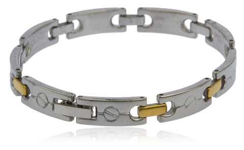 Stainless Steel Two Tone 8mm Links With Bolts 8 Inch Bracelet
