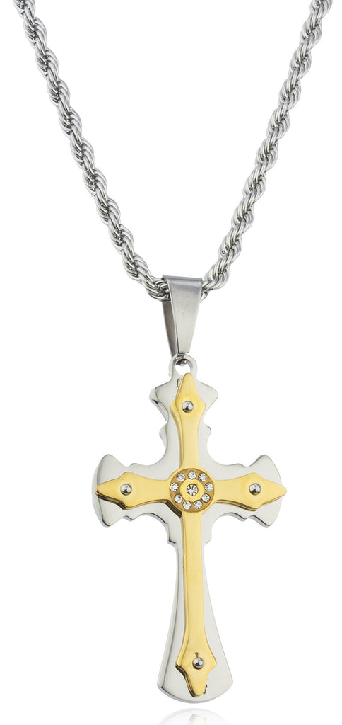 Stainless Steel Two-tone Ancient Double Cross...