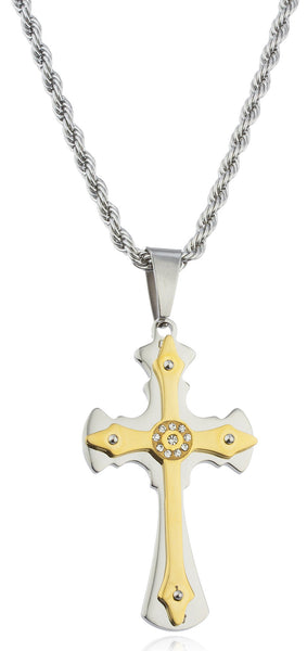 Stainless Steel Two-tone Ancient Double Cross Pendant With Centered Stones And A 24 Inch Rope Chain Necklace