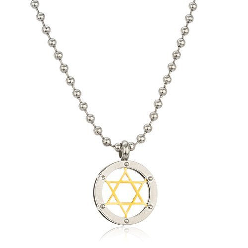 Stainless Steel Two Toned Star Of David Pendant With A 24 Inch 3mm Bead Necklace