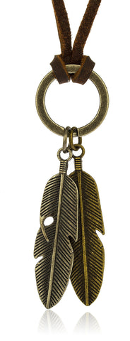 Stainless Steel Vintage Feather Pendants With Genuine Leather Adjustable Necklace