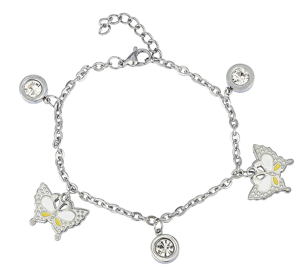 Butterfly and Dangling Stone Bracelet