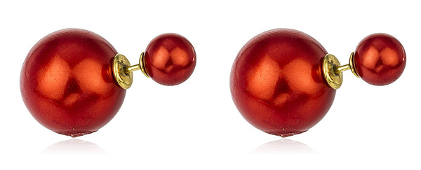 Sterling Silver 360 Simulated Pearl Double Sided Stud Earrings (Red/Goldtone)