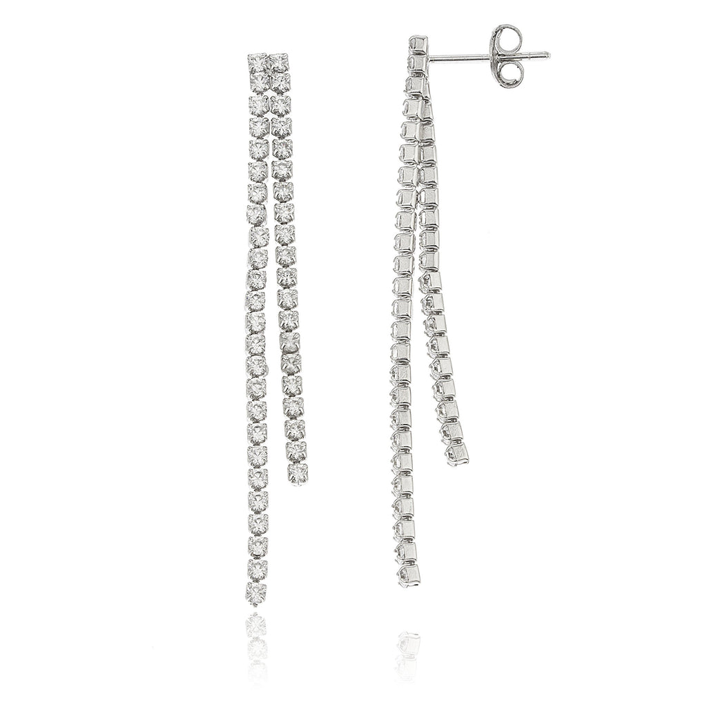 Sterling Silver Double Dangling Stones 1.75...