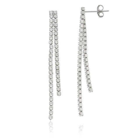 Sterling Silver Double Dangling Stones 1.75 Inch Dangle Earrings