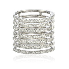Sterling Silver Layered Finger Ring With Cubic Zirconia Stones