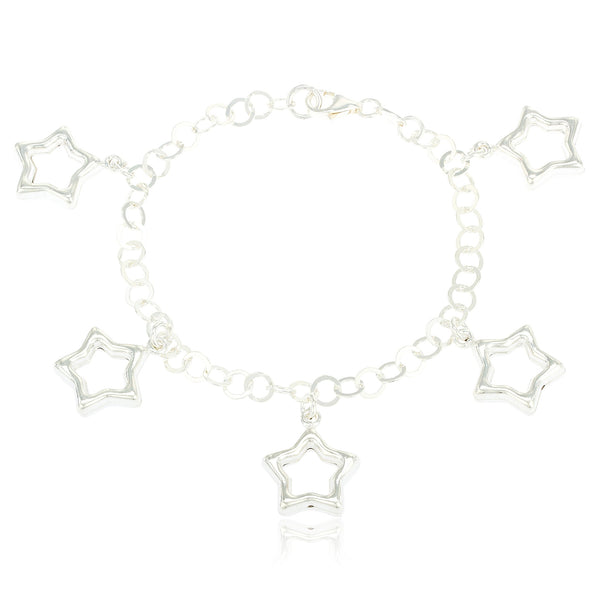 Sterling Silver Open 3D Star Charms 7.5 Inch Ring Link Chain Bracelet