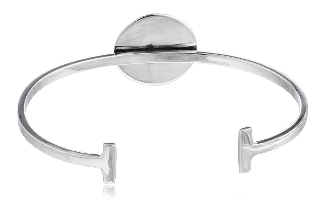 Sterling Silver Anchor Charm Cuff Bangle...