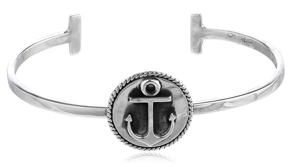 Anchor Charm Cuff Bangle Bracelet