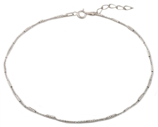 Sterling Silver Rhodium Plated Anklet 9Inch Tube Style