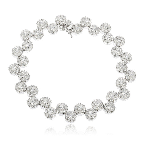 Iced Out Sunflower Cluster Tennis Bracelet