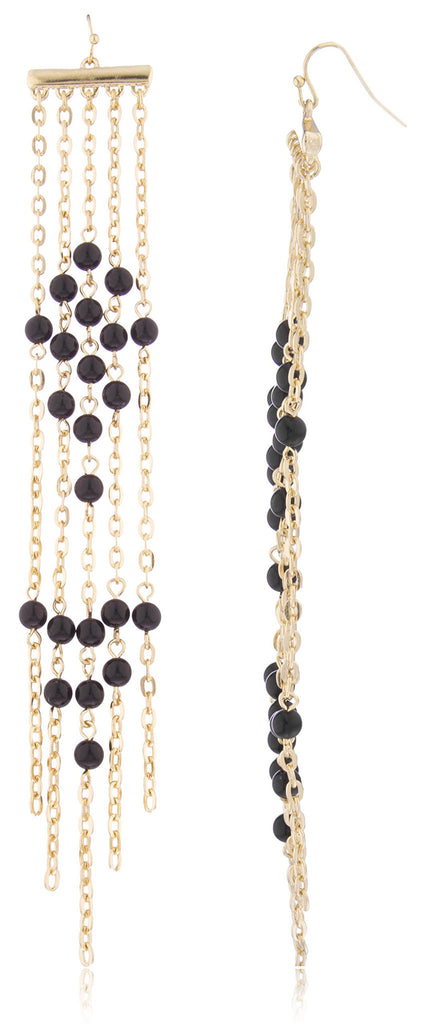 Tassel Links And Beads Dangle Earrings...