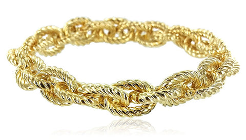 Textured Link Stretch Bracelet (Goldtone)