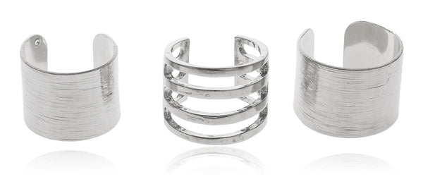 Three Piece Adjustable Midi Ring Set (Silvertone)