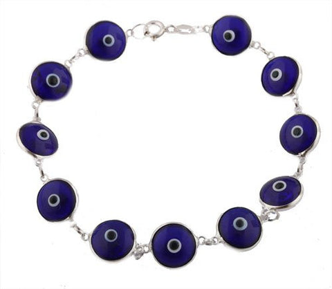 Transparent Dark Blue Real 925 Sterling Silver 7 Inch Evil Eye Bracelet