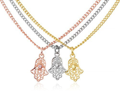 Tri Tone Necklaces With Hamsa Hand Pendant