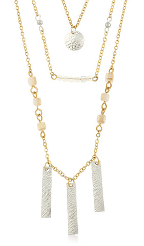 Triple Layred Dangling Bars With Colored Cubic Links Chain Necklace Jewelry Set (Silvertone)