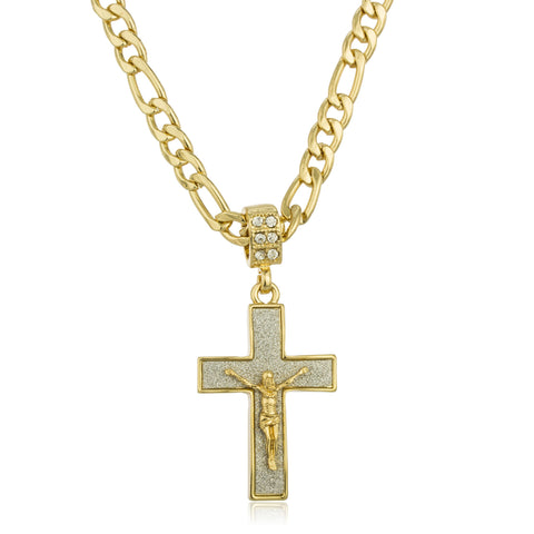 Two Tone Micro Iced Out Sandblasted Cross Jesus Pendant With A 24 Inch Figaro Necklace