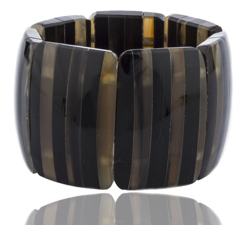 Two-tone Striped Simulated Buffalo Horn Stretch...