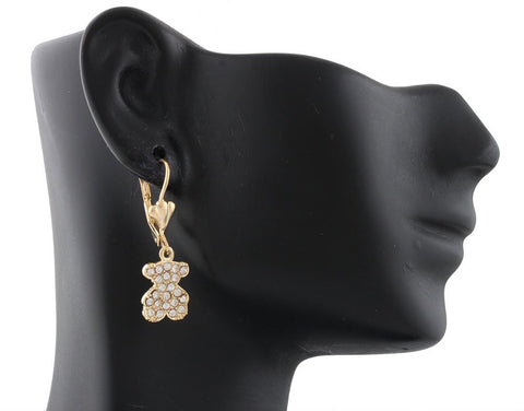 Two Year Warranty Girls Gold Overlay Iced Out 30mm Teddy Bear Dangle Earrings