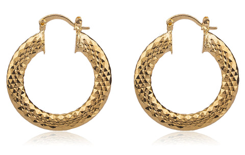 Two Year Warranty Gold Overlay 1.15 Inch Hammered Design Hoop Earrings