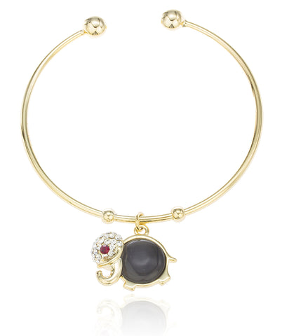 Two Year Warranty Gold Overlay 2.25 Inch Black Simulated Pearl With Stones Round Elephant Charm Bangle Bracelet