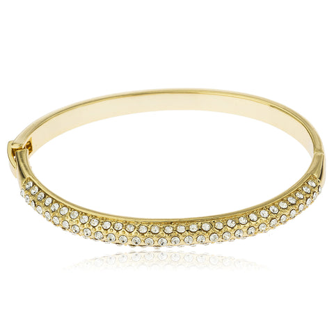 Two Year Warranty Gold Overlay 2.5 Inch Bangle Bracelet With Multiple Stones