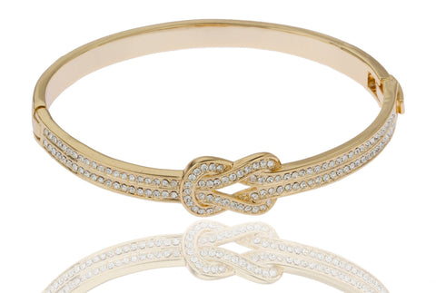 Two Year Warranty Gold Overlay 2.5 Inch Belt Buckle Design Bangle Bracelet With Stones