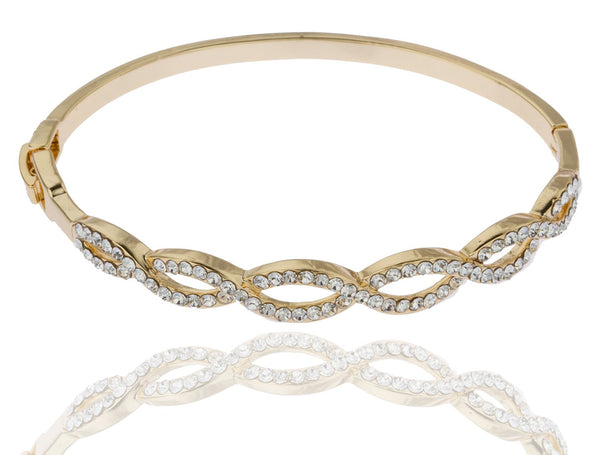Two Year Warranty Gold Overlay 2.5 Inch Braided Style Bangle Bracelet With Stones