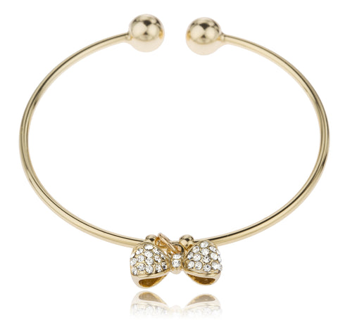 Two Year Warranty Gold Overlay 2.5 Inch Cuff Bangle Bracelet With Dangling Bow Tie With Stones
