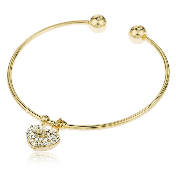 Two Year Warranty Gold Overlay 2.5 Inch Cuff Bangle Bracelet With Dangling Heart With Stones