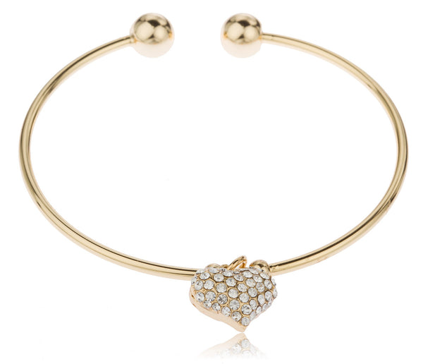 Two Year Warranty Gold Overlay 2.5 Inch Cuff Bangle Bracelet With Dangling Puffy Heart With Stones
