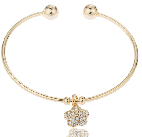 Two Year Warranty Gold Overlay 2.5 Inch Cuff Bangle Bracelet With Dangling Star