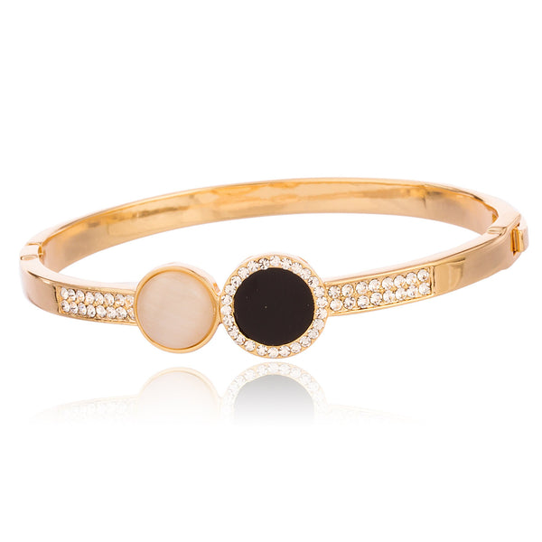 Two Year Warranty Gold Overlay 2.5 Inch Elegant Design Bangle Bracelet With Assorted Stones