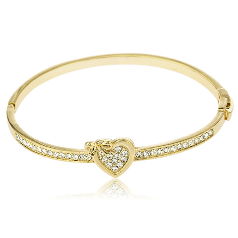 Two Year Warranty Gold Overlay 2.5 Inch Heart With Ribbon Bangle Bracelet With Stones