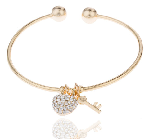 Two Year Warranty Gold Overlay 2.5 Inch Heart With Stones And Key Cuff Bangle Bracelet