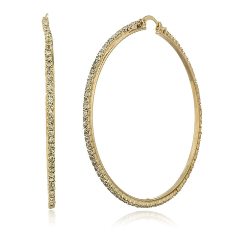 Two Year Warranty Gold Overlay 2.5 Inch Hoop Earrings With Stones