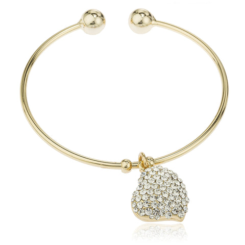 Two Year Warranty Gold Overlay 2.5 Inch Large Heart With Stones Cuff Bangle Bracelet