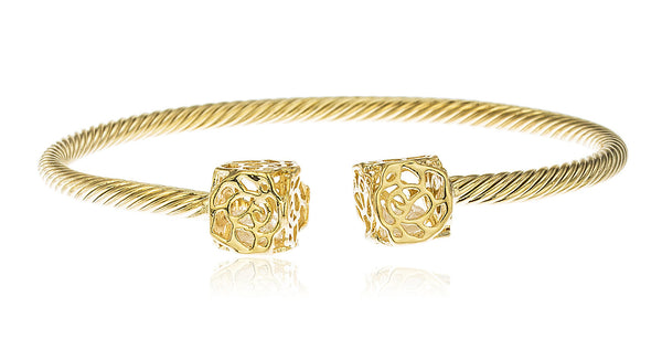 Two Year Warranty Gold Overlay 2.5 Inch Rope Style Cuff Bangle Bracelet With Rose Stencil Charms