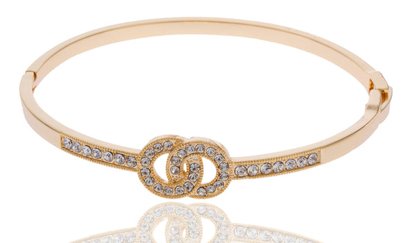 Two Year Warranty Gold Overlay 2 Inch Looped Circle Design Bangle Bracelet With Stones