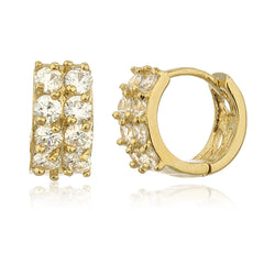 Two Year Warranty Gold Overlay 2 Row .5 Inch Huggie Hoop Earrings With Cubic Zirconia