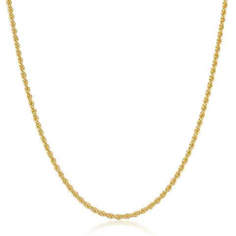 Two Year Warranty Gold Overlay 2mm 17.5 Inch Rope Chain Necklace
