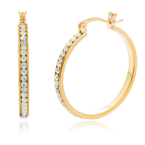 Two Year Warranty Gold Overlay 3mm 1.25 (30mm) Inch Hoop Earrings With Clear Stones