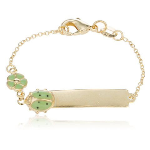 5-inch-id-bar-baby-bracelet-with-a-green-ladybug-and-flower-charm