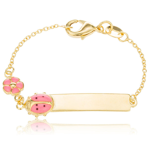 Two Year Warranty Gold Overlay 5 Inch ID Bar Baby Bracelet With A Pink Ladybug And Flower Charm