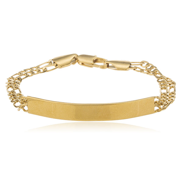 Two Year Warranty Gold Overlay 7.5 Inch Double Link Id Bar Bracelet