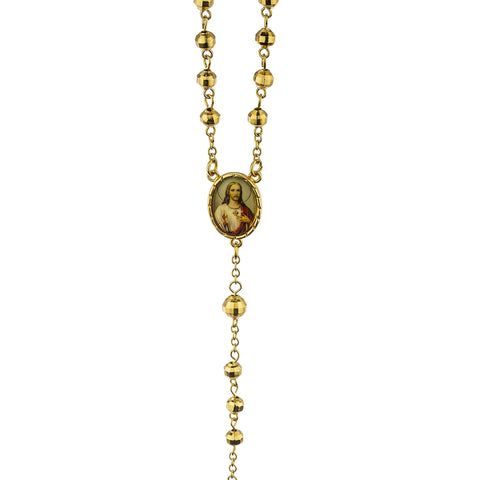 Two Year Warranty Gold Overlay 7.5mm 21 Inch Rosary Cross Pendant And Jesus Charm Necklace